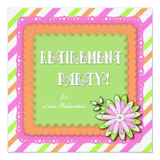 "Bold Modern Spring Floral Stripe Retirement Party 5.25"" Square Invitation Card"