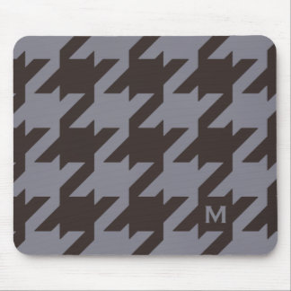 Bold modern steel grey houndstooth monogram mouse pad