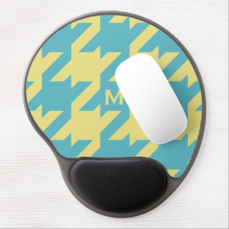 Bold modern teal yellow houndstooth with monogram gel mouse pad