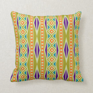 Bold Modern Tribal Aztec Geo Pattern Throw Pillow