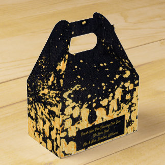 Bold Modern Wedding Special Event Black Faux Gold Favor Box
