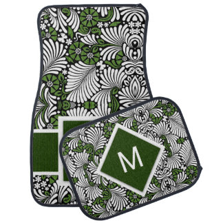 Bold Monogram and Green with White Tropical Print Car Mat