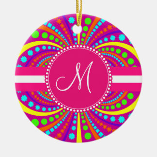 Bold Monogram Funky Pattern Hot Pink Design Ceramic Ornament