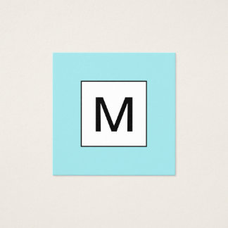 Bold monogram minimalist modern blue business card