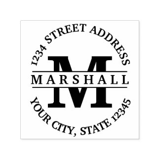 Bold Monogram with Name and Return Address Self-inking Stamp