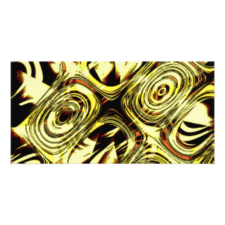 Bold Move - Yellow and Black Abstract Customized Photo Card