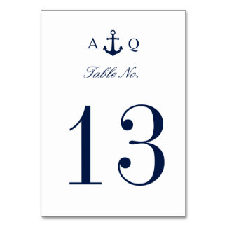 Bold Nautical Style Wedding Table Number