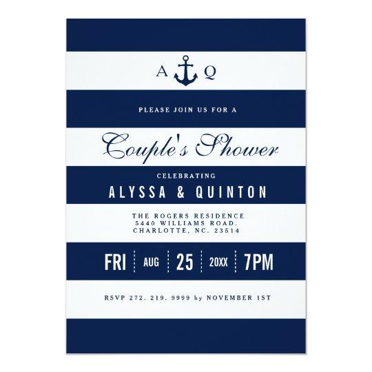 Bold Nautical Theme Couples Shower Invitation