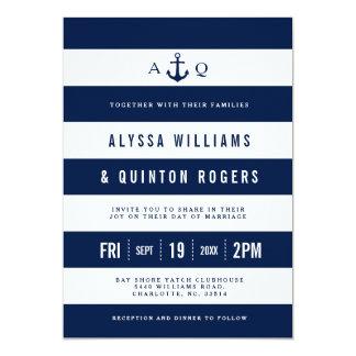 Bold Nautical Theme Navy Stripes Wedding Invite
