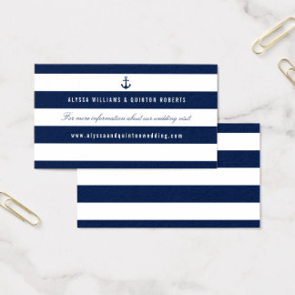 Bold Nautical Theme Wedding Information Business Card
