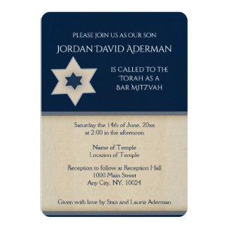 Bold navy blue and tan Bar Mitzvah invitation