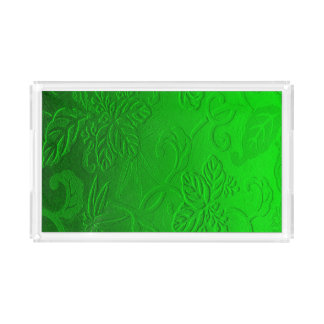 Bold Neon Green Embossed Leaves Acrylic Tray