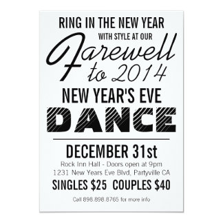 Bold New Years Eve Dance Party Card
