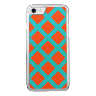 Bold Orange and Turquoise Blue Squares Pattern Carved iPhone 7 Case