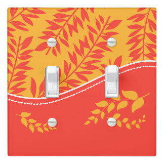 Bold Orange and Yellow in a Tropical Leafy Theme Light Switch Cover
