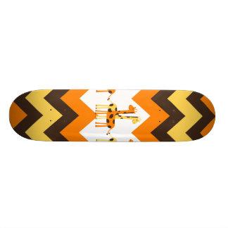 Bold Orange Brown Yellow Chevrons with Fun Giraffe Skate Deck