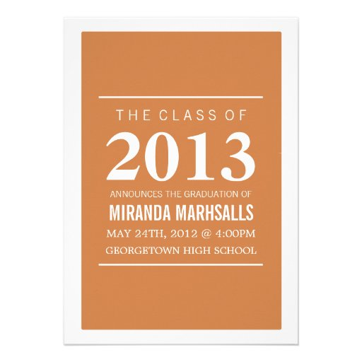 Bold Orange Photo Graduation Announcements