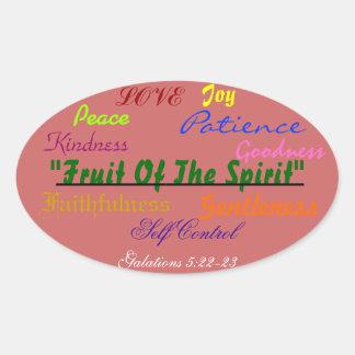 Bold oval sticker Fruit of the sprit verse!