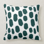 Bold Painted Spots - Dark Green on White Throw Pillow