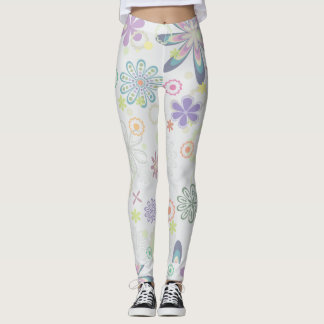 Bold Pastel Floral Pattern Leggings