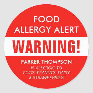 Bold Personalized Food Allergy Alert Kids Classic Round Sticker