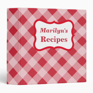 Bold Personalized Gingham Recipe Binder