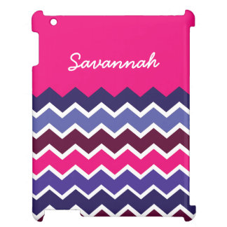 Bold Personalized Hot Pink Indigo Chevron Case Case For The iPad 2 3 4