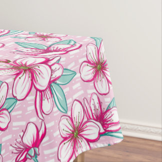 Bold Pink and Pretty Cherry Blossoms Tablecloth