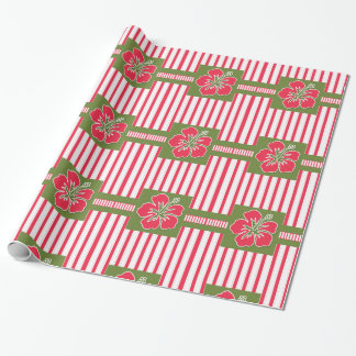 Bold Pink and White Stripes and Hibiscus Flower Wrapping Paper