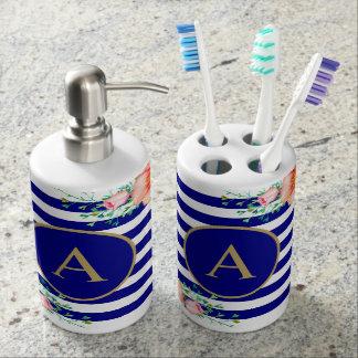 Bold Pink Floral Black Navy Stripe Gold Monogram Soap Dispenser And Toothbrush Holder