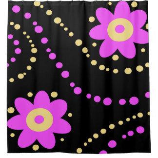Bold Pink Flowers Dots Pattern Black
