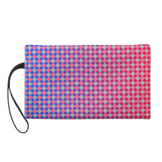 Bold pink grey red and blue diamonds design wristlet clutch