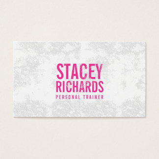 Bold Pink Grunge Stamped Text Business Card