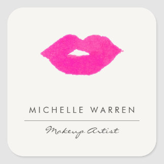Bold Pink Lips Watercolor Makeup Artist Square Sticker