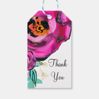 Bold Pink Modern Floral Watercolor Bridal Favor Gift Tags