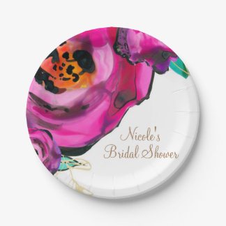 Bold Pink Modern Floral Watercolor Bridal Party 7 Inch Paper Plate