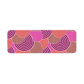 Bold Pink Purple Layered Spirals Pattern Return Address Label