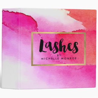 Bold Pink Watercolors Lash Extensions Salon 3 Ring Binder