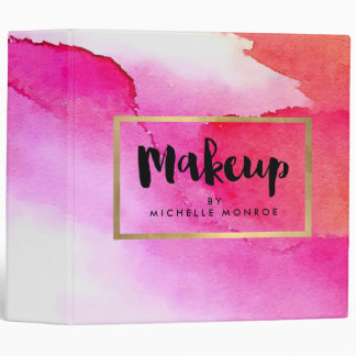 Bold Pink Watercolors Makeup Artist Binder