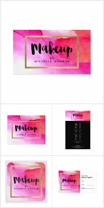 Bold Pink Watercolors Makeup Artist Brand Suite