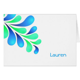 Bold Plume Blue Green on Any Color Thank You Card