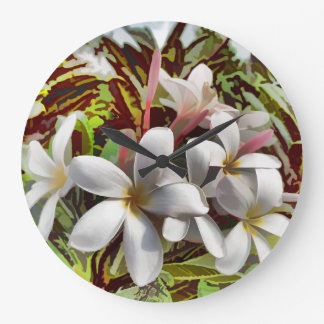 Bold Plumeria Wall Clocks