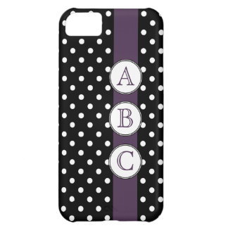 Bold Polkadots with Purple Three Initials iPhone 5C Case