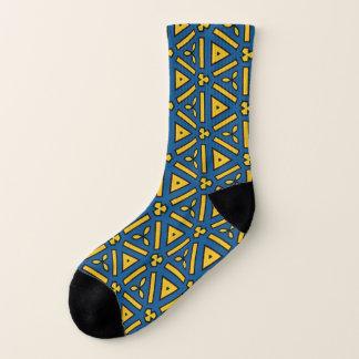 Bold Print Blue Yellow Geometric Repeat Pattern 1