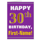 Bold, Purple, Faux Gold 30th Birthday w/ Name Card