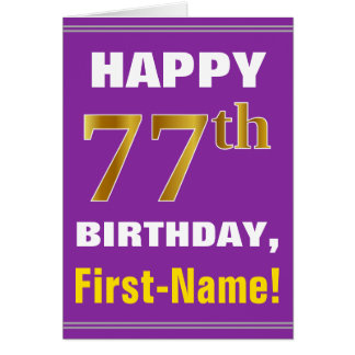 Bold, Purple, Faux Gold 77th Birthday w/ Name Card