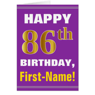 Bold, Purple, Faux Gold 86th Birthday w/ Name Card