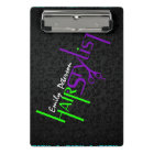 Bold Purple Green And Black Hair Stylist Text Mini Clipboard