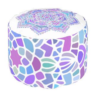 Bold purple mandala pouf, colorful fun decor pouf