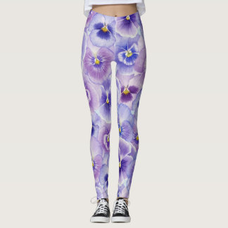 Bold Purple Pansies Legging